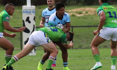 Douglas Levi getting tackled in round 5 of the nswrl SG Ball Cup (Photo : Steve Montgomery)