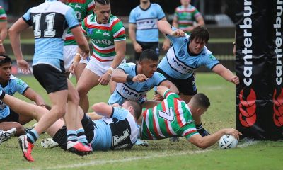 Lachlan Ilias scores in the 1st half in Rnd 1 of the NSWRL Jersey Flegg Cup v Cronulla (Photo : Steve Montgomery)