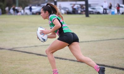 Rabbitoh's Full Back Tahlia Hunter running the footy out of Defense again (Photo : Steve Montgomery)