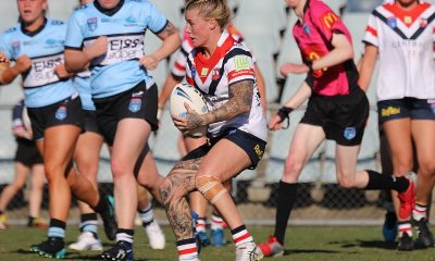 Central Coast Roosters Winger Jayme Fressard looks for a way through traffic atr Campbelltown Stadium in the Semi Final v Cronulla Sahrks (Photo : Steve Montgomery)