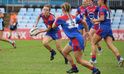 Newcastle Knights Tarsha Gale Cup halfback sends the Knights into another attack in Rnd 4 at Shark Park (Photo : Steve Montgomery)
