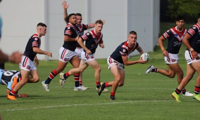 Sydney Roosters 2nd Rower Zac Montgomery sends the Roosters into another attack in Round 5 v Cronulla (Photo : Steve Montgomery)