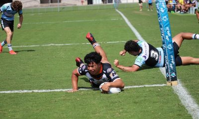 Ofele Lene scores for the Magpies in Round 8 at Shark park (Photo : Steve Montgomery)
