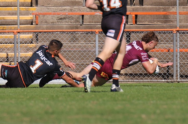 Seaeagles Skipper Josh Feledy dives in for a try to put his SeaEagles side into the HMC Grand Final against the Parramatta Eels (Photo : Steve Montgomery)