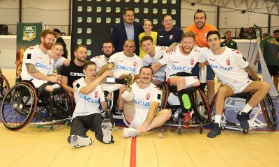 England Wheelchair Rugby League team after the 2nd Test v Aussie Wheelaroos in 2019 (Photo : Steve Montgomery)