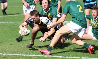 Fletcher Sharpe of All Saints College dives in for a powerful try at the Maitland Sports Ground in Rnd 2 of the Schoolboy Cup against Farrer MAHS (Photo : Steve Montgomery)