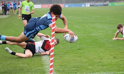 Luke Laulilii of NSWCHS Under 15's dives in for a spectacular try in today's Day 2 of the NSW Schoolboys Championships (Photo : Steve Montgomery)