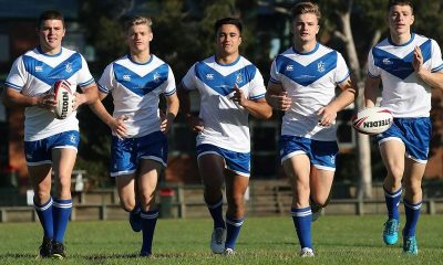 St Dominic's College players Ryley Smith, Keagan Russell-Smith, Mason Teague, Lachlan Whitehouse and Liam Ison. Picture: David Swift