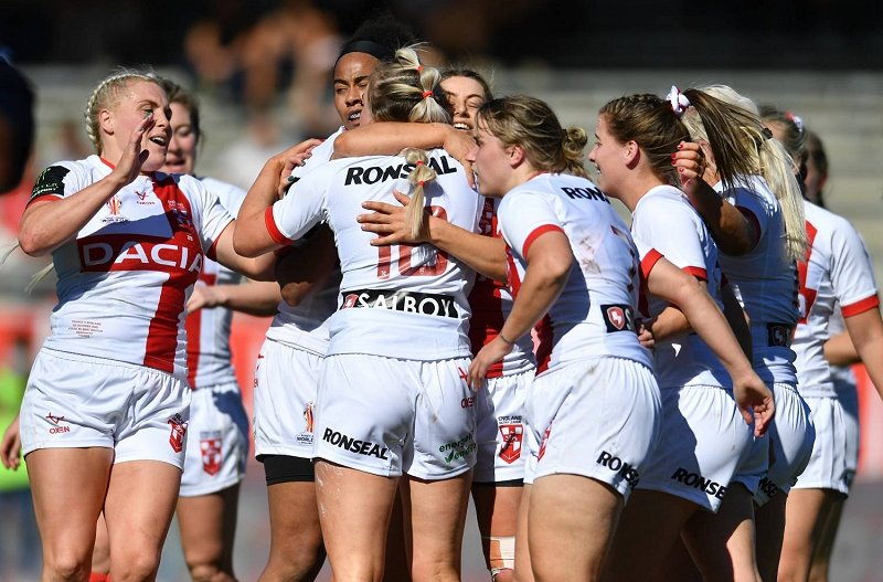 England women celebrate beating France in Women's Rugby League International