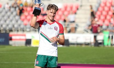 City v Country u17's Man of the Match was City's Hooker Blake Mozer, Pictured here holding the 2021 u17's Boys City v Country Cup (Photo's : Erick Lucero/QRL)